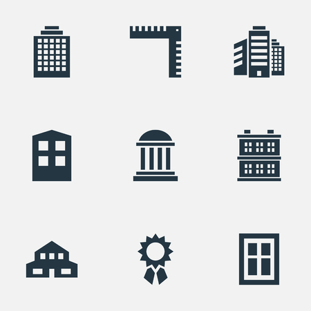 Vector Illustration Set Of Simple Structure Icons. Elements Superstructure, Reward, Glazing And Other Synonyms Cottage, Ruler And Shanty.