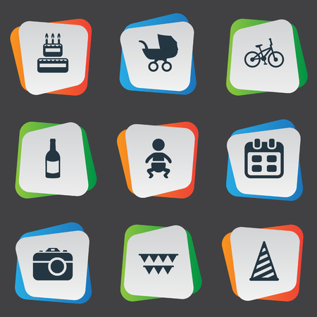 Vector Illustration Set Of Simple Holiday Icons. Elements Confectionery, Camera, Beverage And Other Synonyms Date, Camera And Flags. Illustration