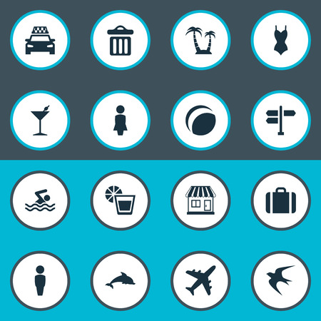 Vector Illustration Set Of Simple Seaside Icons. Elements Swallow, Suitcase, Male And Other Synonyms Beach, Trip And Travel.