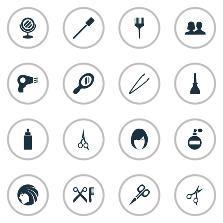 Vector Illustration Set Of Simple Salon Icons. Elements Beauty, Glass, Customers And Other Synonyms Nail, Polish And Comb.