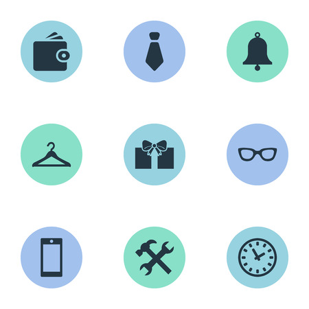 Vector Illustration Set Of Simple  Icons. Elements Time, Repair, Billfold And Other Synonyms Cravat, Spectacles And Hanger. Illustration