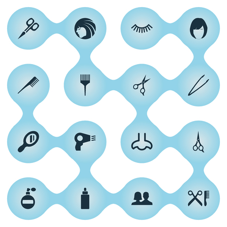 Vector Illustration Set Of Simple Cosmetics Icons. Elements Serum, Smell, Crest And Other Synonyms Barbershop, Tool And Woman.