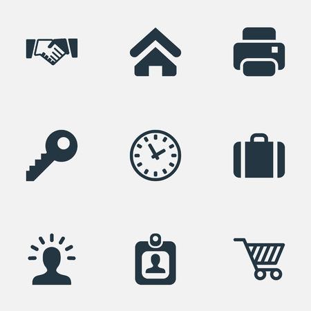Illustration vectorielle définie des icônes de commerce simple. Elements Clock, bourse, utilisateur et autres synonymes, clé, profil et imprimante. Banque d'images - 77787662