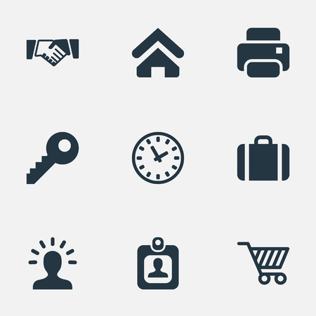 Vector Illustration Set Of Simple Trade Icons. Elements Clock, Trading Purse, User And Other Synonyms Key, Profile And Printer. Illustration