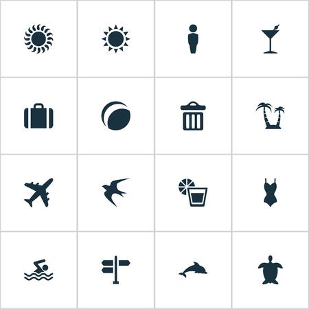 Vector illustratie Set van eenvoudige strand pictogrammen. Elements Crossroad, Zoogdiervis, Cocktail en Andere Synoniemen Partij, Avontuur en Bikini.