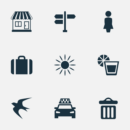 hot woman: Vector Illustration Set Of Simple Beach Icons. Elements Woman, Hot, Store And Other Synonyms Garbage, Lady And Crossroad.