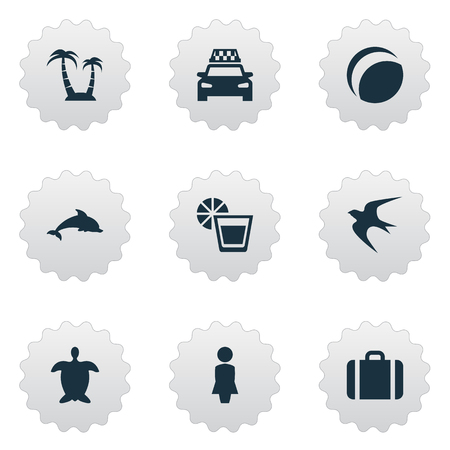Vector Illustration Set Of Simple Seaside Icons. Elements Mammal Fish, Palm, Beach Games And Other Synonyms Turtle, Taxi And Baggage.