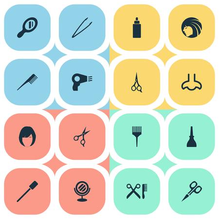 Vectorillustratiereeks Eenvoudige Schoonheidspictogrammen. Elementen Crest, schaar, serum en andere synoniemen Kam, salon en nagel. Stock Illustratie