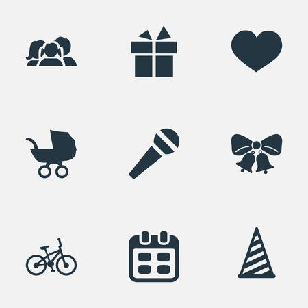 Vector Illustration Set Of Simple Birthday Icons. Elements Bicycle, Baby Carriage, Domestic And Other Synonyms Schedule, Bike And Cap.