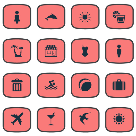 Vector Illustration Set Of Simple Seaside Icons. Elements Beach Games, Cocktail, Male And Other Synonyms Pool, Sea And Beverage. Illustration
