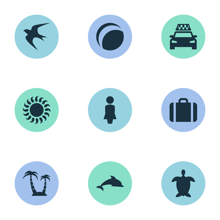 Vector Illustration Set Of Simple Beach Icons. Elements Sunlight, Woman, Mammal Fish And Other Synonyms Cab, Adventure And Taxi.