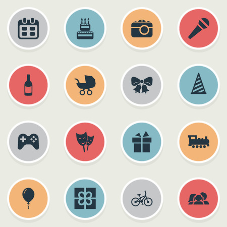 Vector Illustration Set Of Simple Celebration Icons. Elements Bicycle, Cap, Resonate And Other Synonyms Party, Microphone And Speech. Ilustração