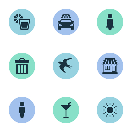 Vector Illustration Set Of Simple Beach Icons. Elements Swallow, Woman, Taxi And Other Synonyms Taxi, Drink And Beach.