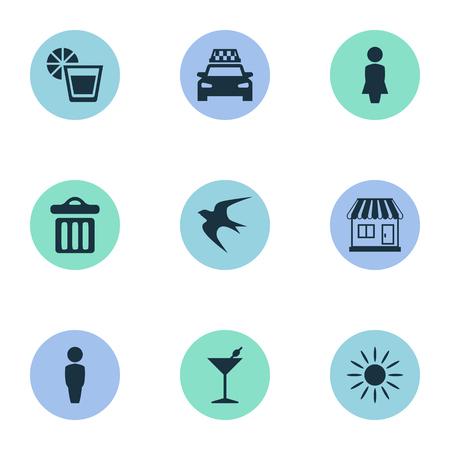 Vector illustratie Set van eenvoudige strand pictogrammen. Elements Swallow, Woman, Taxi And Other Synoniemen Taxi, drinken en strand.