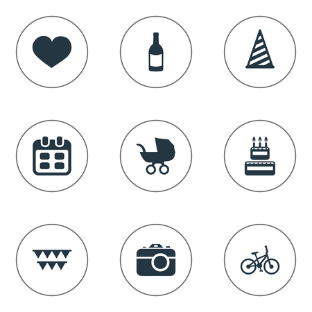 Vector Illustration Set Of Simple Holiday Icons. Elements Bicycle, Confectionery, Beverage And Other Synonyms Beverage, Soul And Date.