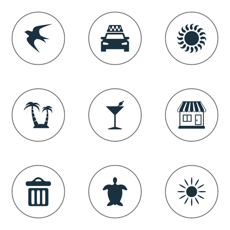 Vector Illustration Set Of Simple Seaside Icons. Elements Palm, Swallow, Cocktail And Other Synonyms Store, Garbage And Tortoise. Illustration