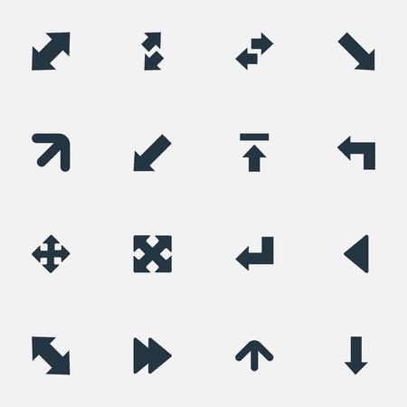 シンプルな矢印のアイコンのベクトル イラスト セット。転送、ストレート バック要素は左ランドマーク類義語、右を上げると指摘します。  イラスト・ベクター素材