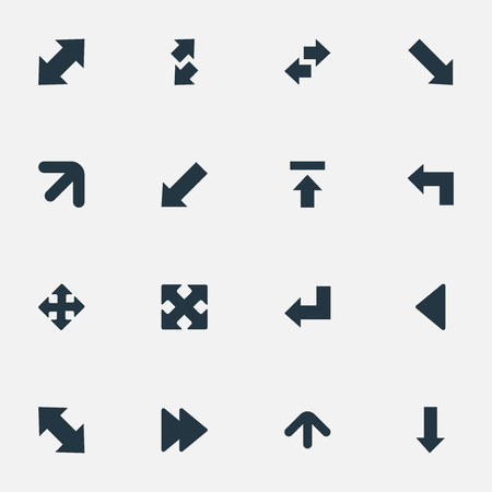 Vector Illustration Set Of Simple Arrows Icons. Elements Straight-Back, Transfer, Left Landmark Synonyms Raising, Right And Pointing. Иллюстрация