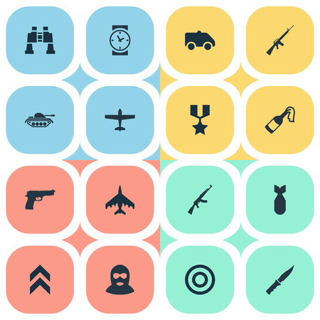 Vector Illustration Set Of Simple Battle Icons. Elements Kalashnikov, Molotov, Target And Other Synonyms Offender, Aim And Emergency. Illustration