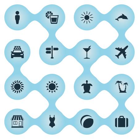 単純な海辺のアイコンのベクトル イラスト セット。要素飛行機、太陽、タクシー、その他類義語荷物車および飲料。