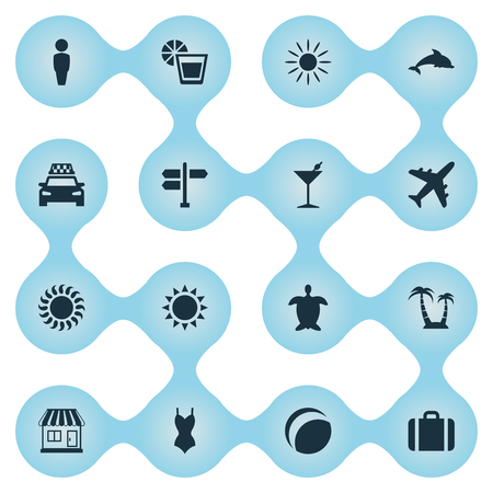 Vector Illustration Set Of Simple Seaside Icons. Elements Airplane, Sun, Taxi And Other Synonyms Luggage, Car And Beverage.