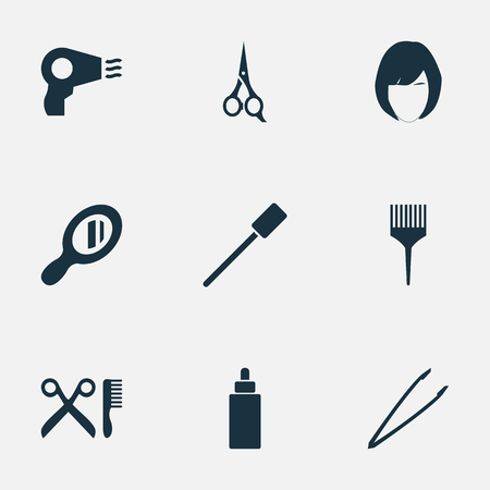 Vector Illustration Set Of Simple Cosmetics Icons. Elements Hairstyle, Comb, Barbershop And Other Synonyms Haircut, Oil And Tool.