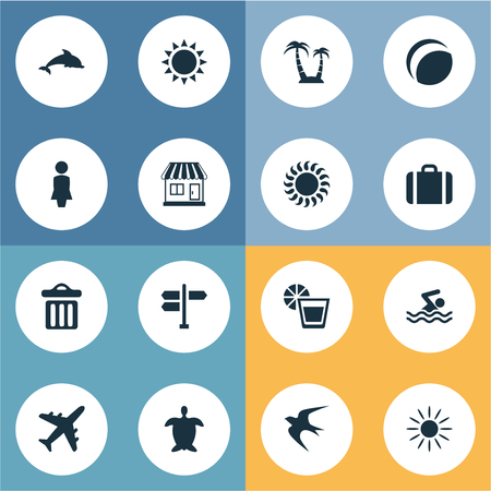 Vector Illustration Set Of Simple Beach Icons. Elements Store, Sunlight, Mammal Fish And Other Synonyms Airplane, Direction And House.