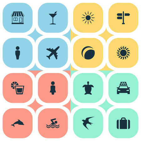 Vector Illustration Set Of Simple Beach Icons. Elements Mammal Fish, Crossroad, Beverage And Other Synonyms Junction, Tortoise And Sunlight. Ilustração