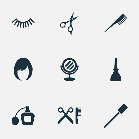 Vector Illustration Set Of Simple Salon Icons. Elements Scissors, Hairstyle, Barbershop And Other Synonyms Mirror, Haircut And Hairstylist.