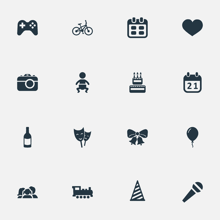 Vector Illustration Set Of Simple Holiday Icons. Elements Infant, Bicycle, Confectionery And Other Synonyms Fizz, Feelings And Family. Illustration