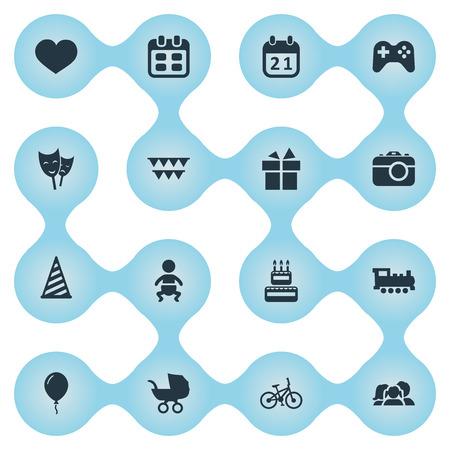 Illustration vectorielle définie des icônes simples de célébration. Elements Cap, Decorations ;, Journée spéciale et autres synonymes: Cake, Aerostat and History. Banque d'images - 77790864