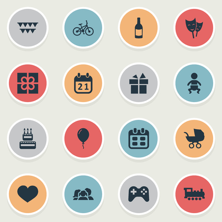 Vector Illustration Set Of Simple Celebration Icons. Elements Special Day, Confectionery, Train And Other Synonyms Beverage, Decorations And Ribbon. Illustration