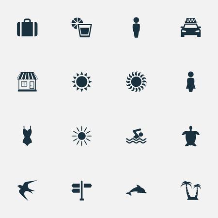 シンプルなビーチ アイコンのベクター イラスト セット。要素日光、タクシー、スーツケース、他の同義語の女性ホットと方向。