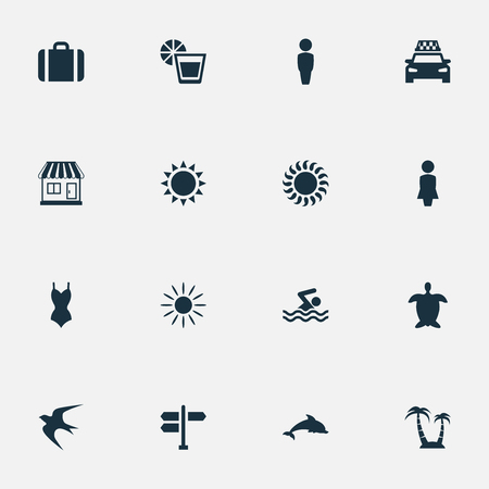 Vector Illustration Set Of Simple Beach Icons. Elements Sunlight, Taxi, Suitcase And Other Synonyms Woman, Hot And Direction.