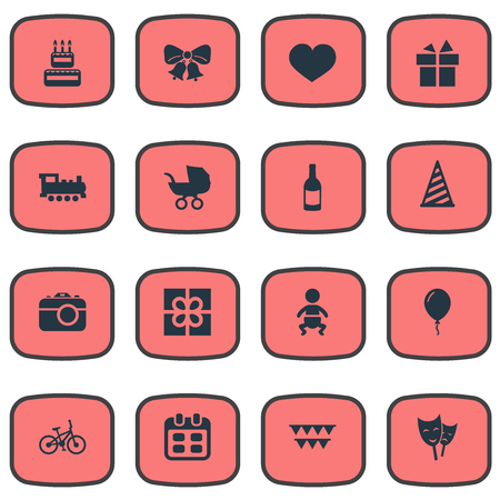 Vector Illustration Set Of Simple Celebration Icons. Elements Decorations;, Resonate, Box And Other Synonyms Jingle, Resonate And Cap.