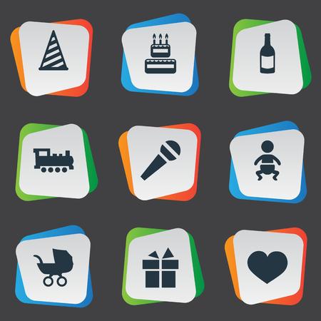Vector illustratie Set van eenvoudige verjaardag iconen. Elements Soul, Baby, Fizzery, Speech and Other Synoniemen Lint. Stock Illustratie