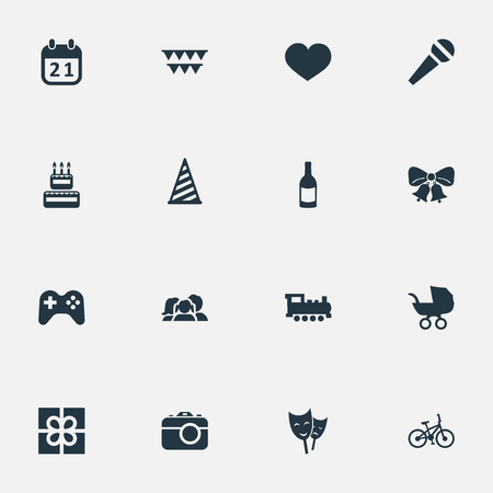 Vector Illustration Set Of Simple Holiday Icons. Elements Beverage, Resonate, Decorations; And Other Synonyms Flags, Play And Sweetmeat.