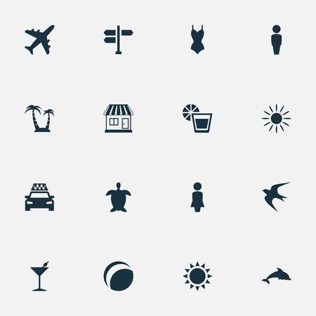 単純な海辺のアイコンのベクトル イラスト セット。要素交差点、飛行機、哺乳類の魚、他の同義語のカクテルはホットし、島します。