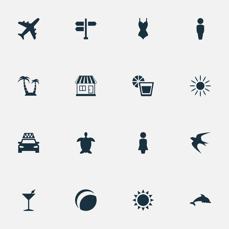Vector Illustration Set Of Simple Seaside Icons. Elements Crossroad, Airplane, Mammal Fish And Other Synonyms Cocktail, Hot And Island.