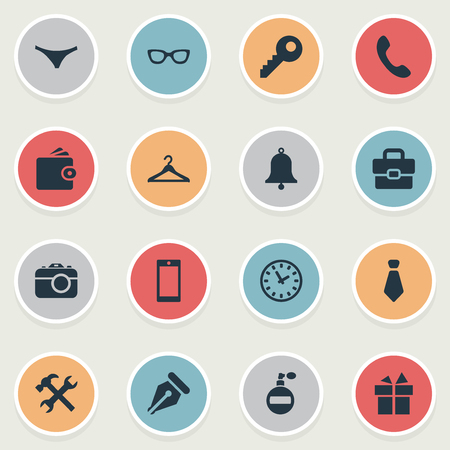 Vector Illustration Set Of Simple Accessories Icons. Elements Fragrance, Call Button, Ink Pencil And Other Synonyms Photo, Camera And Underpants. Stock Photo