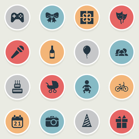 Vector Illustration Set Of Simple Celebration Icons. Elements Camera, Aerostat, Infant And Other Synonyms Photo, Jingle And Aerostat.