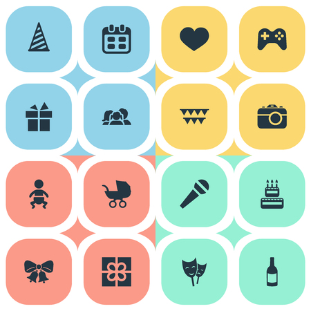 Vector Illustration Set Of Simple Holiday Icons. Elements Ribbon, Speech, Domestic And Other Synonyms Beverage, Kid And Present. Illustration