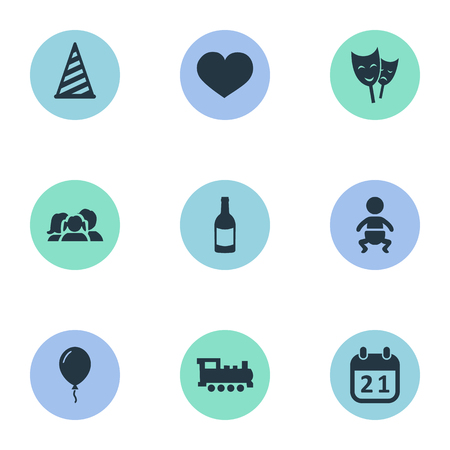Vector Illustration Set Of Simple Holiday Icons. Elements Special Day, Infant, Mask And Other Synonyms Train, Beverage And Infant.