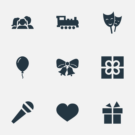 Vector Illustration Set Of Simple Birthday Icons. Elements Ribbon, Aerostat, Speech And Other Synonyms Microphone, Soul And Speech.