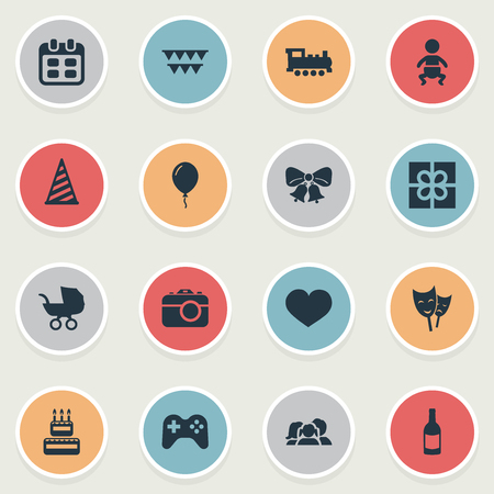 Vector Illustration Set Of Simple Birthday Icons. Elements Camera, Game, Baby Carriage And Other Synonyms Beverage, Train And Play.