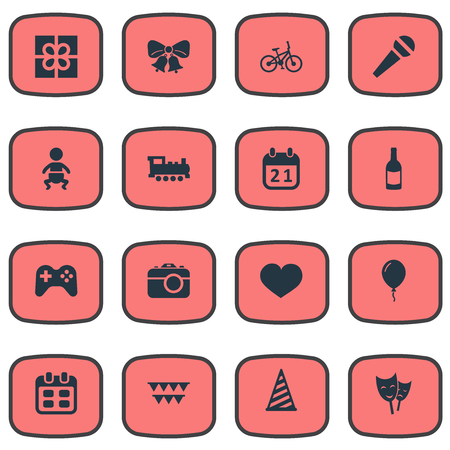 Vector Illustration Set Of Simple Holiday Icons. Elements Box, Game, Beverage And Other Synonyms Flags, Cap And Bicycle.