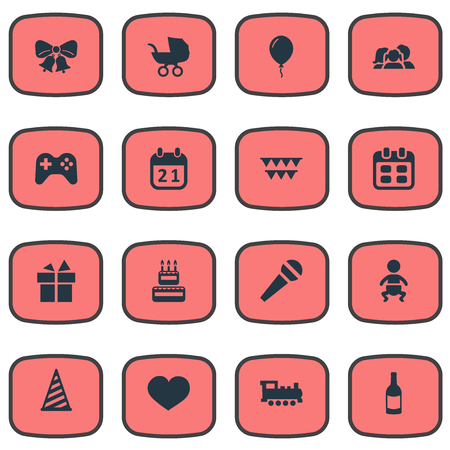 Vector Illustration Set Of Simple Holiday Icons. Elements Decorations;, Confectionery, Baby Carriage And Other Synonyms Heart, Locomotive And Family.