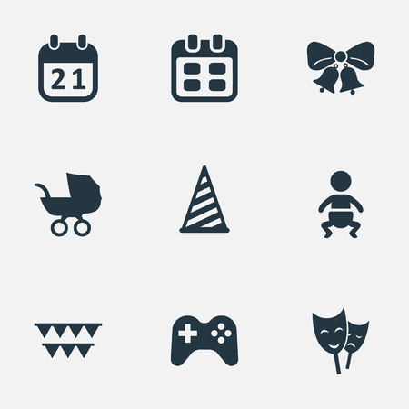 Vector Illustration Set Of Simple Holiday Icons. Elements Baby Carriage, Special Day, Cap And Other Synonyms Carriage, Cap And Game. Illustration