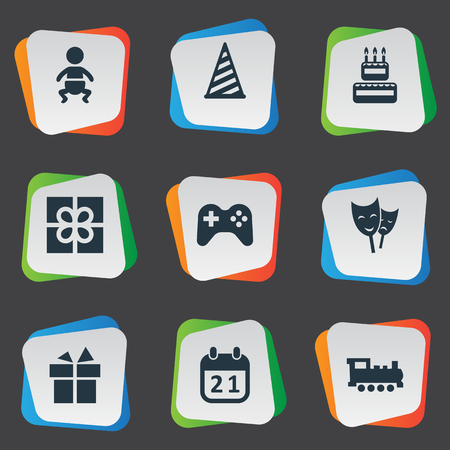 Vector Illustration Set Of Simple Holiday Icons. Elements Ribbon, Train, Game And Other Synonyms History, Game And Actor.