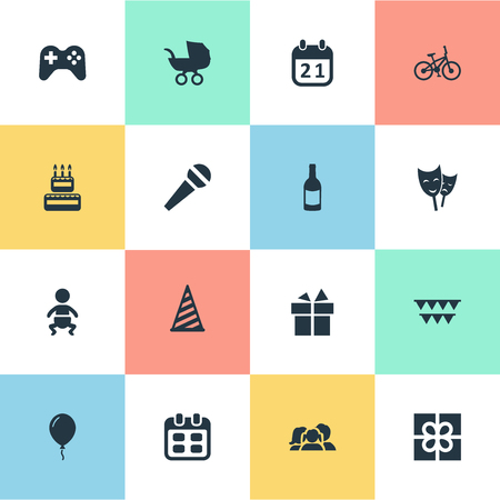 Vector Illustration Set Of Simple Birthday Icons. Elements Baby Carriage, Cap, Bicycle And Other Synonyms Actor, Family And Hat.